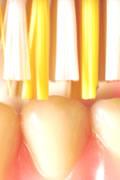 Nahaufnahme Zähne und Zahnbürste